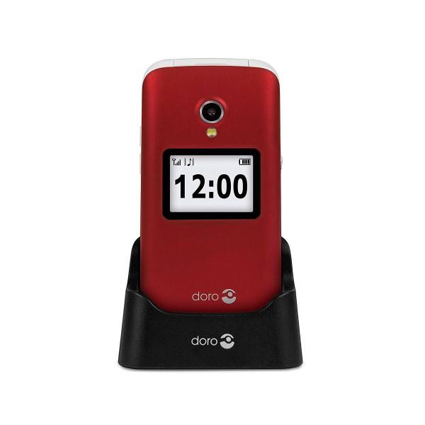 Doro 2424 rojo blanco móvil senior 2.4'' pantalla de notificaciones cámara 3mp bluetooth radio fm micro sd incluye base de carga
