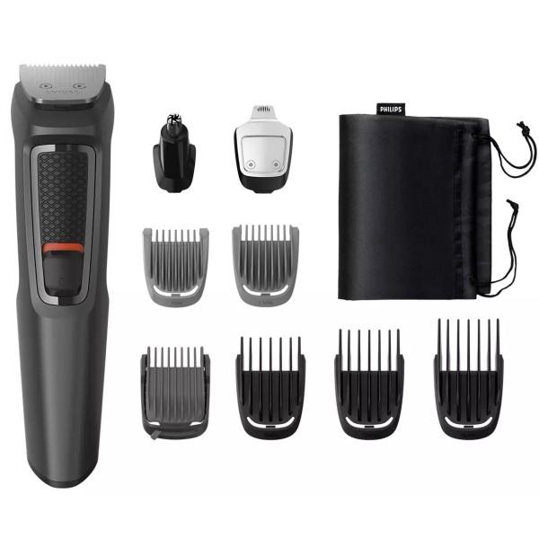 Philips mg3757/15 multigroom series 3000 cortapelo cara y cabello 9 en 1 cuchillas autoafilables de acero incluye funda de viaje