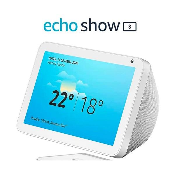 Amazon altavoz echo show 8 blanco/pantalla con control de hogar inteligente/alexa